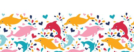 vector fun colorful dolphins horizontal seamless pattern background photo