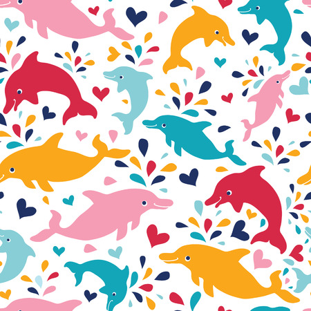 vector fun colorful dolphins seamless pattern background