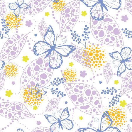 Vector butterfly garden seamless pattern background with hand drawn elements photo