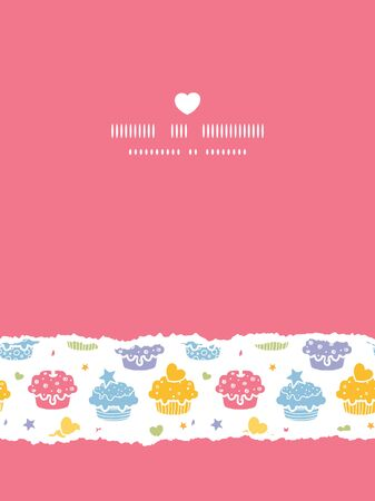 Vector colorful cupcake party vertical torn seamless pattern background with hand drawn elements. Stock Photo
