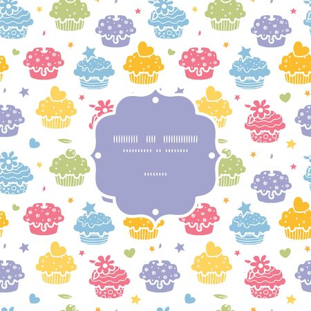 party background: Vector colorful cupcake party seamless pattern background with hand drawn elements.
