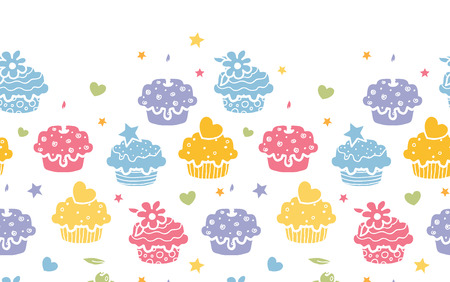 Vector colorful cupcake party horizontal seamless pattern background with hand drawn elements. photo