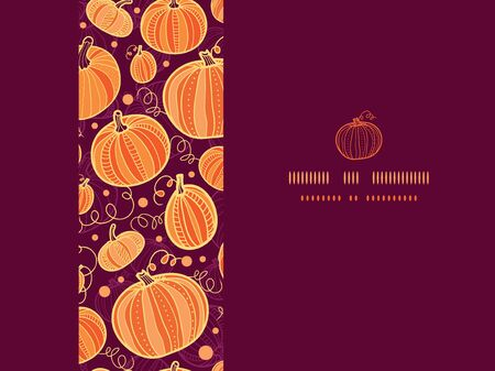 vector Thanksgiving pumpkins horizontal frame seamless pattern background with hand drawn elements photo