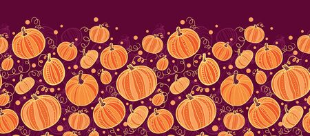 vector Thanksgiving pumpkins horizontal border seamless pattern background with hand drawn elements Stock Photo - 26394509