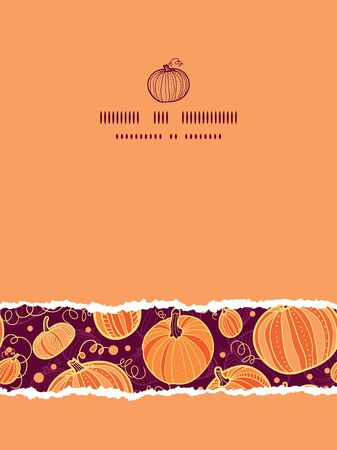 vector Thanksgiving pumpkins vertical torn seamless pattern background with hand drawn elements photo
