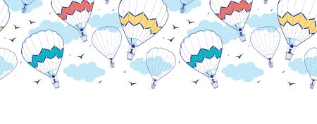 Vector colorful hot air balloons horizontal border seamless pattern background with hand drawn elements photo