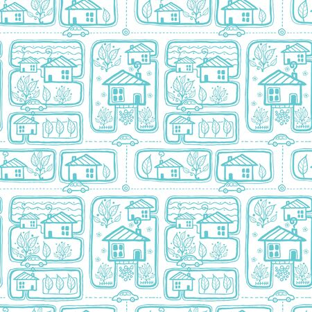 Vector doodle town streets seamless pattern background with hand drawn elements