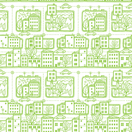 Vector doodle city streets seamless pattern background with hand drawn elements