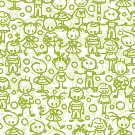 Vector group of children playing seamless pattern background with hand drawn elements.