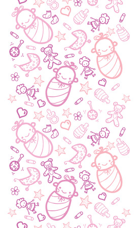 Vector baby girls horizontal seamless pattern background with hand drawn elements. photo