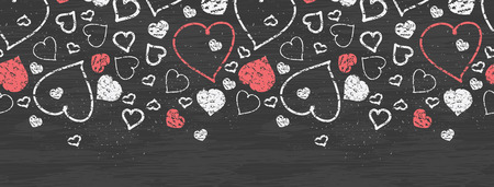 Vector chalkboard art hearts horizontal border seamless pattern background with hand drawn elements photo