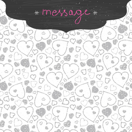 Vector chalkboard art hearts frame seamless pattern background with hand drawn elements photo