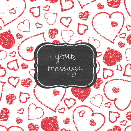 Vector chalkboard red art hearts frame seamless pattern background with hand drawn elements photo