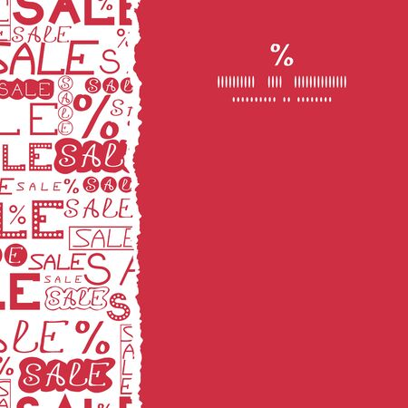 vector sale text seamless pattern square torn frame background with hand drawn elements