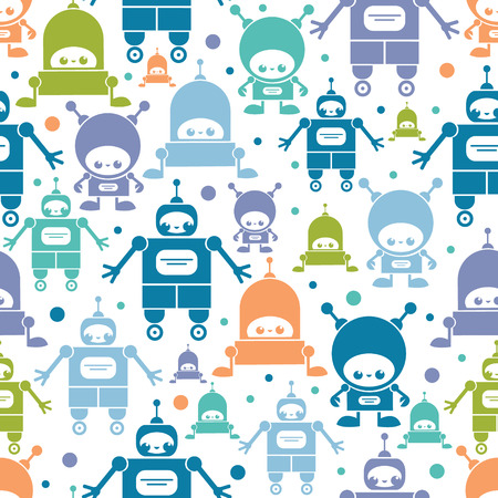Vector cute colorful cartoon robots seamless pattern background with hand drawn elements. photo