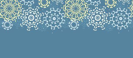 vector yellow gray abstract mandalas horizontal seamless pattern background Vector