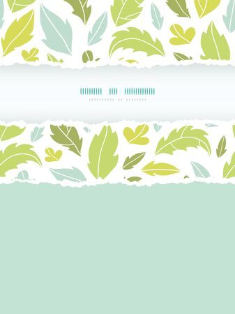 Vector leaves silhouettes vertical torn seamless pattern background with hand drawn elements Vector