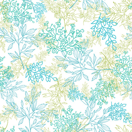 Vector scattered blue green branchesl seamless pattern background with hand drawn elements Vector