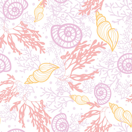 cephalopod: Vector seashells and seaweed seamless pattern background with hand drawn elements. Illustration