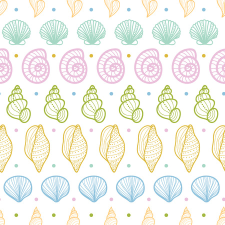 Vector seashells stripes line art seamless pattern background with hand drawn elements. Illustration