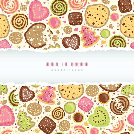 Vector colorful cookies horizontal torn frame seamless pattern background with hand drawn elements Vector