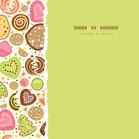 Vector colorful cookies square torn seamless pattern background with hand drawn elements