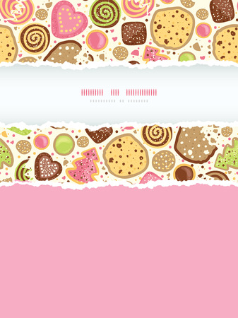 Vector colorful cookies vertical torn frame seamless pattern background with hand drawn elements Vector