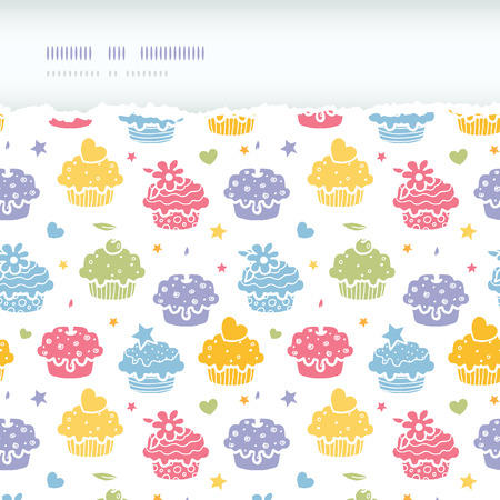 Vector colorful cupcake party horizontal torn seamless pattern background with hand drawn elements. Vector