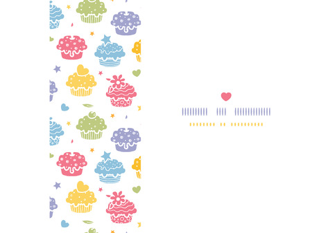 Vector colorful cupcake party horizontal seamless pattern background with hand drawn elements.