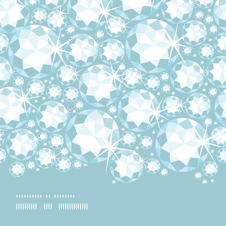 Vector shiny diamonds horizontal border seamless pattern background with geometric elements. Vector