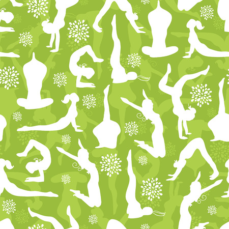 vector green yoga poses seamless pattern background with hand drawn elements Vector
