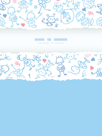 Vector playing children vertical torn frame seamless pattern background ornament with hand drawn elements.