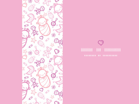 Vector baby girls horizontal frame seamless pattern background with hand drawn elements. Vector