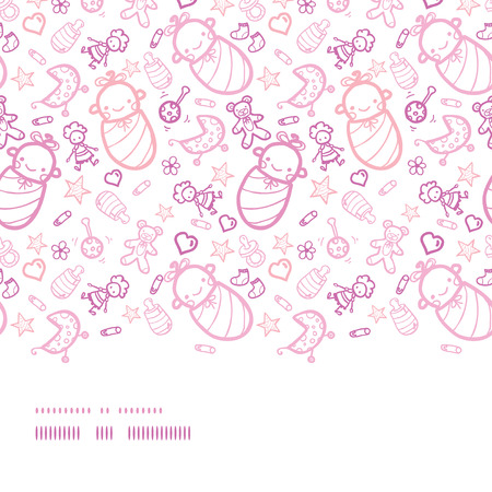 Vector baby girls horizontal border seamless pattern background with hand drawn elements. Vector
