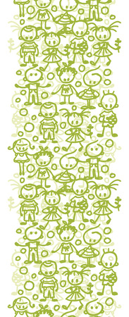 Vector group of children playing vertical seamless pattern background border with hand drawn elements. Vector