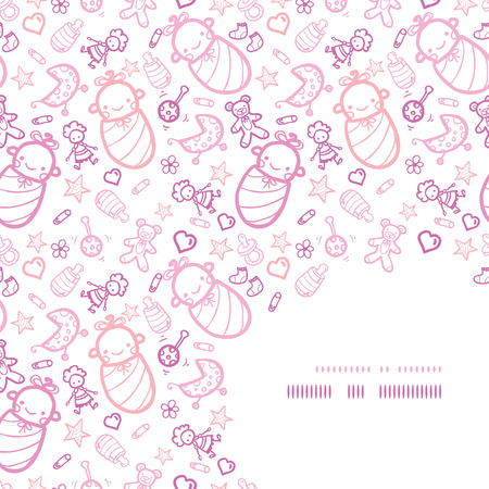 Vector baby girls corner frame pattern background with hand drawn elements. Vector
