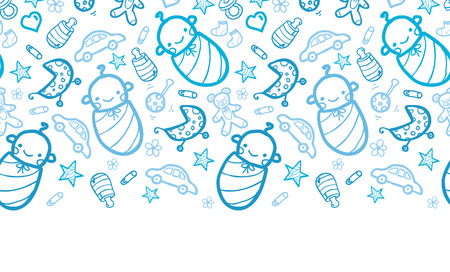 Vector baby boys horizontal seamless pattern background with hand drawn elements. Vector