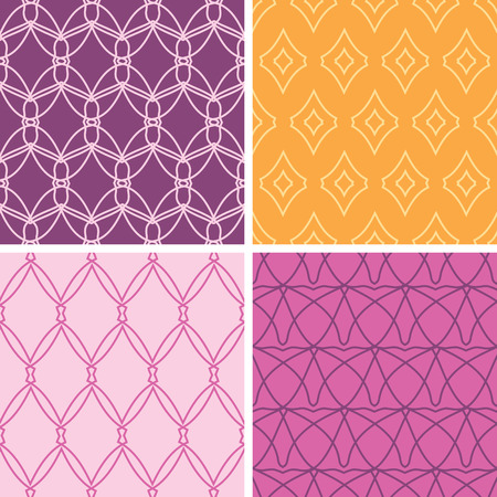 four abstract wire shapes seamless patterns  Vector