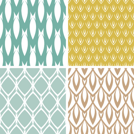 four abstract ornamental shapes seamless patterns  Vector