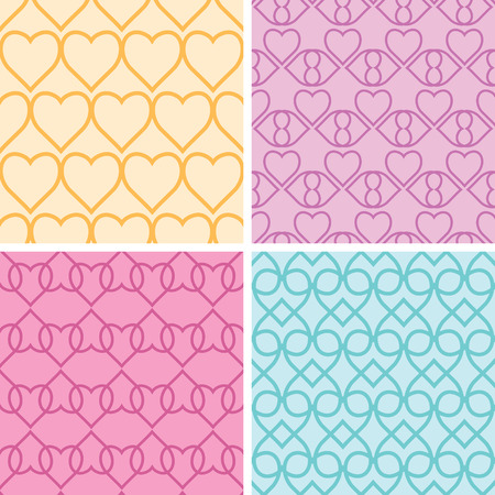 Four matching heart motives seamless patterns background  Vector
