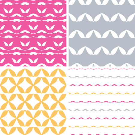 set of four abstract leaf shapes geometric patterns and backgrounds Vector