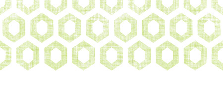 Vector abstract green fabric textured honeycomb cutout horizontal seamless pattern background Vector