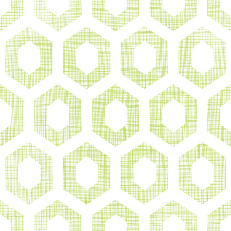 Vector abstract green fabric textured honeycomb cutout seamless pattern background