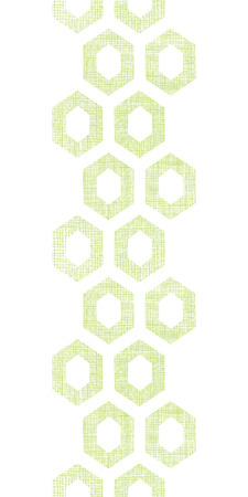 Vector abstract green fabric textured honeycomb cutout vertical seamless pattern background Vector