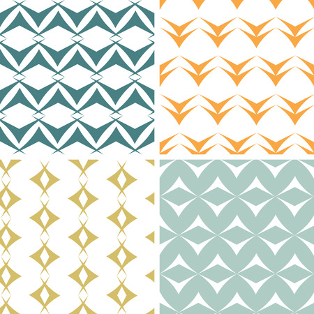 earthy: vector four abstract arrow shapes seamless patterns set in matching color scheme