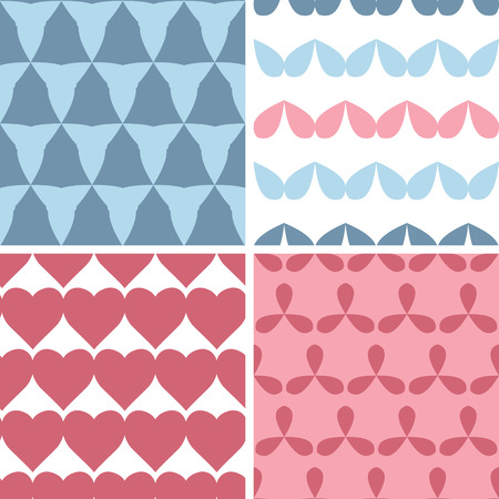 Four matching bold shapes seamless patterns background set Vector