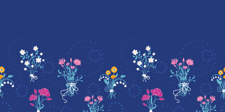Vector fresh flower bouquets horizontal seamless pattern background Vector