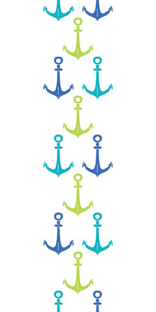 vector anchors blue and green vertical seamless pattern backgound Vector