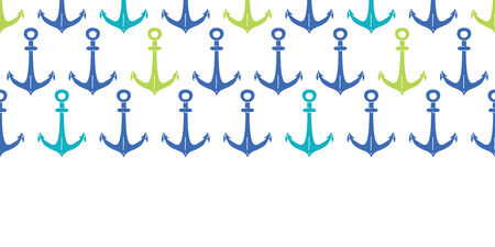 ship anchor: anchors blue and green hoizontal seamless pattern backgound