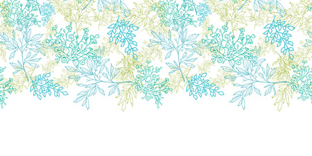Scattered blue green branches horizontal seamless pattern background Vector